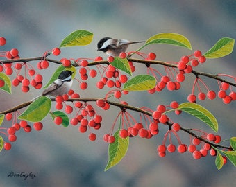 Chickadees in a cherry tree