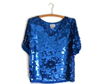 80's Vintage Blue Sequin Blouse/ See Through Mesh Sequin Paillettes