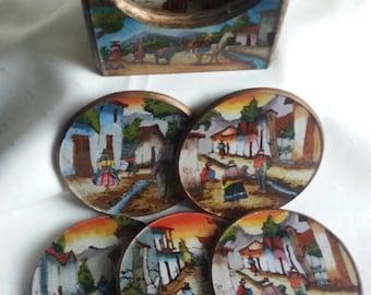 Vintage Peruvian Art, Mini Wall Art, 6 Unique Round Pictures in Holder, Peruvian Villiage Scenes, Vibrant Color With Gold Accent