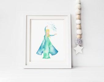 Original watercolor Elsa painting, kids room art, Frozen wall art, nursery decor