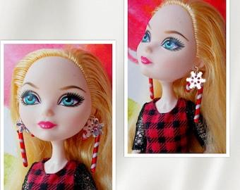 Doll Christmas Earrings,  Fashion Doll Earrings,  Doll Candy Cane Earrings, Snowflake Earrings, Ever After Monster Doll, BJD, Barbie