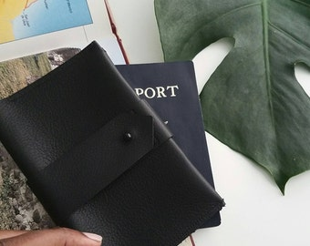 Black Leather Passport Case and Card Holder - Noir