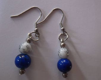 blue grey per earrings