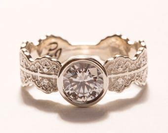 Unique Engagement Ring, White Gold Engagement Ring, Diamond Engagement Ring, Alternative Engagement,Art Deco Engagement,Lace Engagement Ring