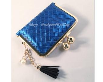 Lightning Blue Faux Leather Credit Card Holder / Mini Wallet S002