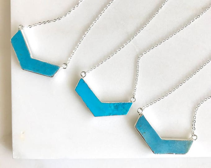 Turquoise Chevron Layering Necklace in Silver. Turquoise Chevron Necklace.  Statement Necklace. Layering Necklace. Gift.