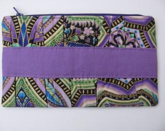 Purple and Blue Mandala Gathered Clutch Purse