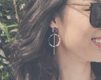 Multicolor acetate hoops with gold bar drop earrings