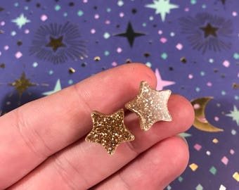 Glitter star stud earrings
