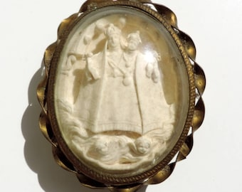 Antique Meerschaum With Madonna And Child/French Antique Small Meerschaum With The Virgin Mary And Baby Jesus/Religious Meerschaum Pendant