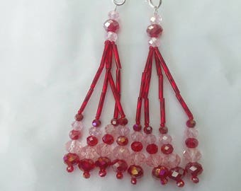 Red and Pink Beaded Nipple Tassels for Burlesque Pasties