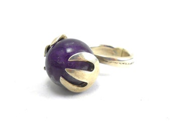 Upcycled Sterling Silver Vintage Sugar Cube Tong Genuine Amethyst Marble Ring