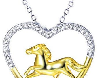 Sterling Silver Open Heart Horse Necklace
