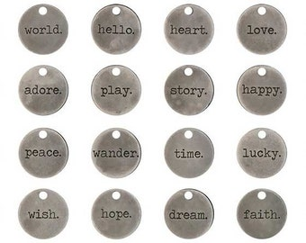 """Word Charms Quote Charms Word Pendants Inspirational Charms Assorted Charms Antiqued Silver Word Charms Round Charms 24pcs 3/4"""""""