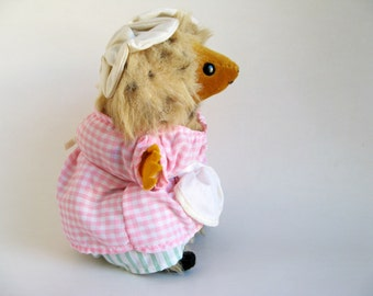 Vintage Mrs. Tiggy Winkle Hedgehog Stuffed Animal Toy by Eden Beatrix Potter Peter Rabbit 1980s Toys Pink Gingham White Apron Tiggy Winkle
