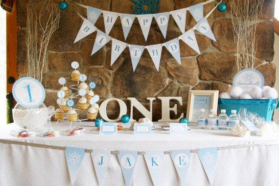 Winter ONEderland Birthday Party Theme Baby Boys First