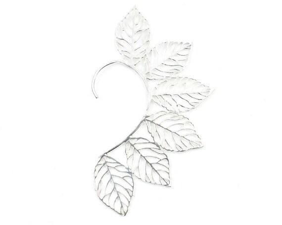 Silver Leaves Ear Wrap, Ear Cuff, Boho Jewelry, Tribal Ear Jewelry,  Festival Jewelry, Gypsy, Ethnic, Hippie Jewelry