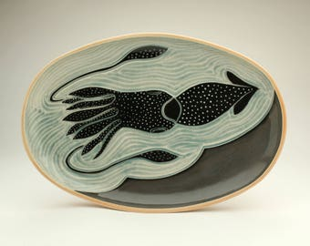 Oval Platter- Jeweled Squid- Ruchika Madan