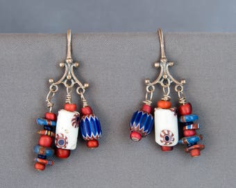 Red, White and Blue Dangle Earrings