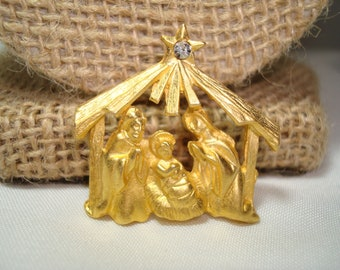Vintage Golden Nativity Scene Lapel Pin with Baby Jesus Mother Mary and Joseph.