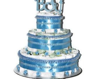 It's A Boy Baby Diaper Cake Blue Ribbon, Pearls, Flowers for Baby Shower Centerpiece 3 Tier