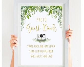 Alternative Wedding Guest Book Sign, Photo Guest Book Sign, Greenery Wedding Printable, Outdoor Wedding, Instant Download, #IDWS604_10BS