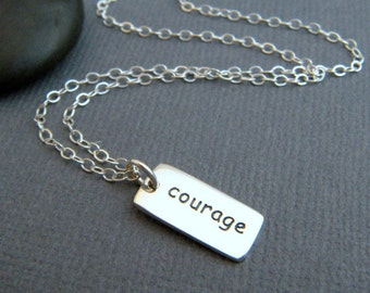 silver courage necklace. tiny sterling inspirational word jewelry. inspiring quote motto affirmation pendant. small simple yoga charm. gift