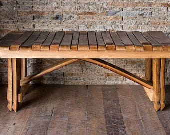 French Oak Wine Barrel Bench