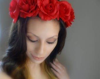 Beautiful Red Floral Crown, Flower Headband, Red Flower Crown
