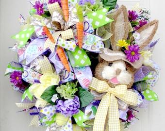 Easter Wreath -Bunny Wreath- Deco Mesh Wreath- Front Door Wreaths- Spring Wreath