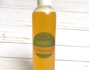 Natural body wash, Patchouli-Citrus body wash-mens body wash, natural liquid soap, vegan liquid soap, shower gel, Father's Day gift