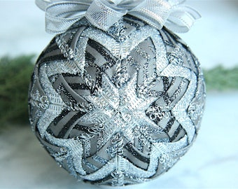 Quilted Christmas Ornament Ball-Gray-Silver-Smoke and Mirrors