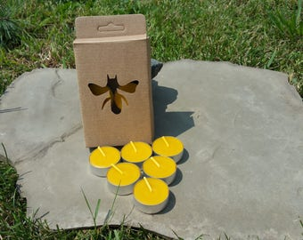 100% Beeswax Tealight Candles - 6 Tealights Gift Box - Free Ship!