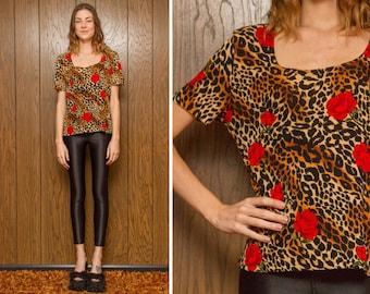 Vintage 90s Kathy Ireland Red Rose Leopard Cheetah Scoop Neck Short Sleeve Valentine Orange Black Brown Flower Print Shirt Top Blouse S M L
