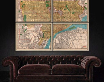 """Large map of Detroit, MI, 1930 Vintage Detroit map up to 64x48"""" (160x120cm) Detroit Motor City in 1 or 4 parts - Limited Edition of 100"""