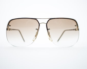 Vintage Sunglasses | Gold Aviator Sunglasses | Oversize Amber Lenses | 1970s Sunglasses | Vintage Deadstock - Aspen Gold