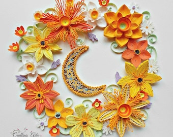 Quilling wall art quilled flower paper flower wall quilling flowers under the moonlightpaper artwall arthome decorwall mightylinksfo