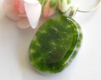 Summer Green - Fused Glass Pendant Necklace with Silver Snake Chain Necklace - Handmade Glass Jewelry