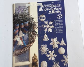 Vintage Annie's Attic crochet snowballs snowflakes and bells. Crochet for the holidays. DIY holiday decorations.