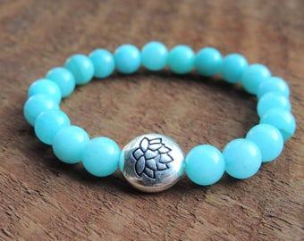 Blue Amazonite Bracelet, Chakra Bracelet, Healing Meditation Bracelet, Yoga Bracelet, Lotus Flower Bracelet, Gemstone Bracelet