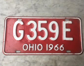 Vintage 1966 Ohio Metal Truck License Plate Red + White // Man Cave Bar Decoration Industrial Garage Decor // Old Automobile Car Accessory