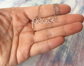Peace Necklace, Word Necklace,Personalized Word Necklace,Custom Word Necklace,Personalized Word jewelry,Girlfriend Necklace,Teenage Gift