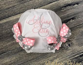 Monogram Baby Girl Diaper Cover, CUSTOM Baby Girl Bloomer, Personalized Toddler Bloomer, Grey Baby Pink, Newborn Photoshoot, Made To Order