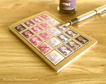 Purple Lavender Journal - Recycled British Stamp Notebook