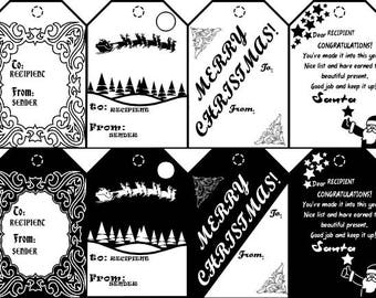 Customizable Black and White Christmas Holiday Themed Gift Tags