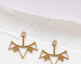 Kora oreille vestes, vestes d'oreille géométrique, vestes d'oreille en or, boucles d'oreille Bohème vestes, boucles d'oreilles Gipsy, vestes d'oreille Triangle