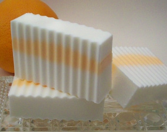 Orange Blossom Mango Butter Soap - Soft Floral Scent - Tropical Layered Soap - Soap for Dry Skin Care