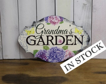 Grandma's GARDEN  Decorative Sign w/stake/Garden Sign/Mother's Day/Porch Sign/Hydrangea/Wood Sign/ Garden/ Flowers/ Gardener/Outside/Blue