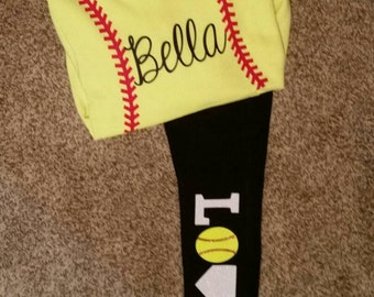 Customized Softball Hoodie and Leggins (with name, and LOVE on the pants)