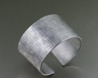 Linen Texturized Aluminum Cuff - Silver Tone Statement Bracelets - Aluminum Jewelry for Women - 10th Anniversary Gifts